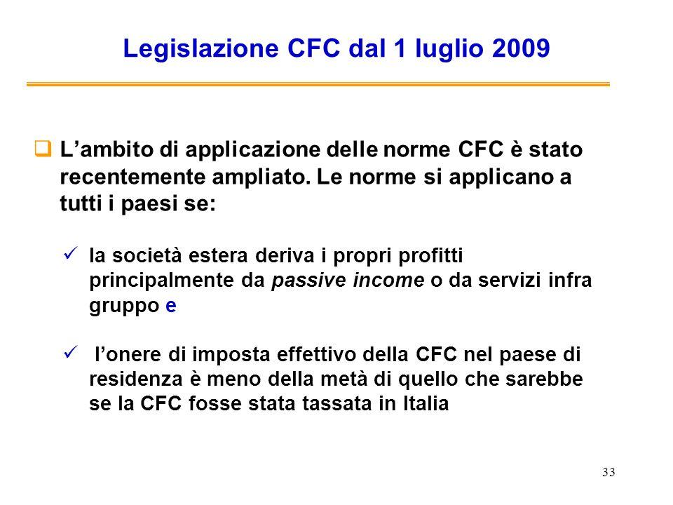 Legislazione CFC dal 1 luglio 2009