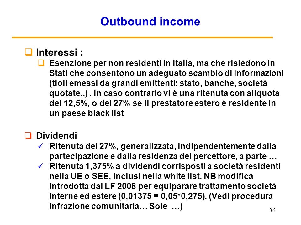 Outbound income Interessi : Dividendi