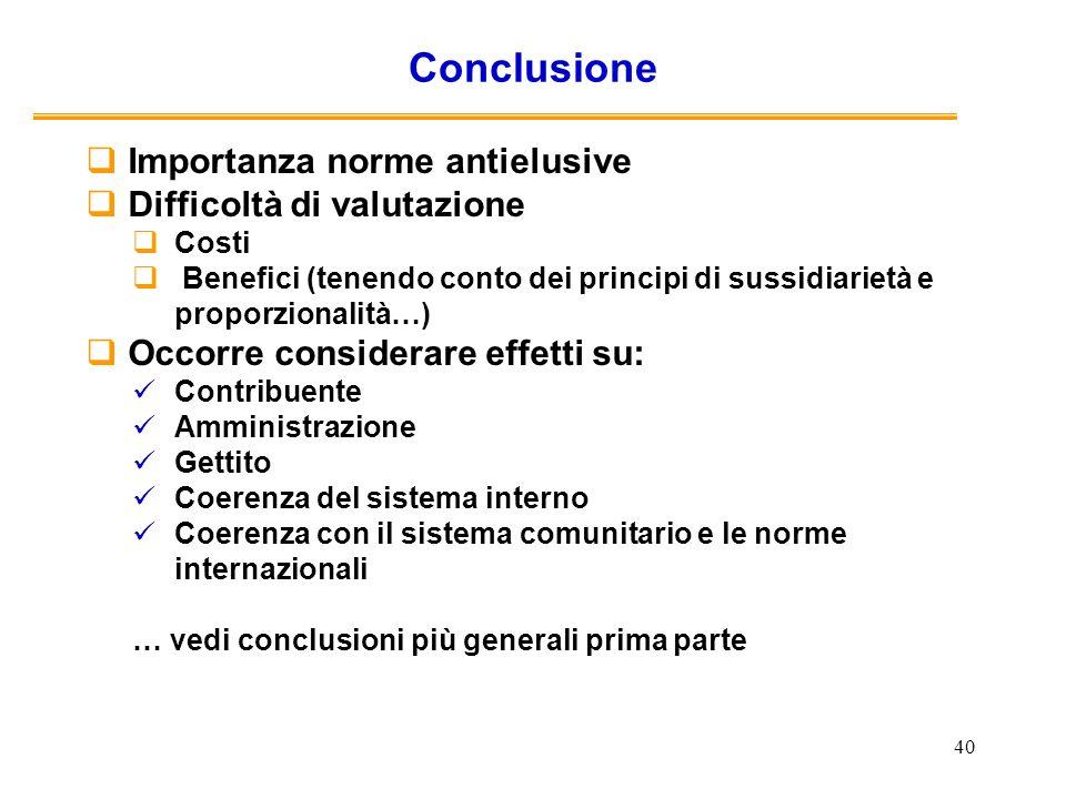 Conclusione Importanza norme antielusive Difficoltà di valutazione