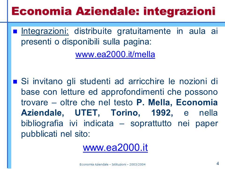 Economia Aziendale: integrazioni