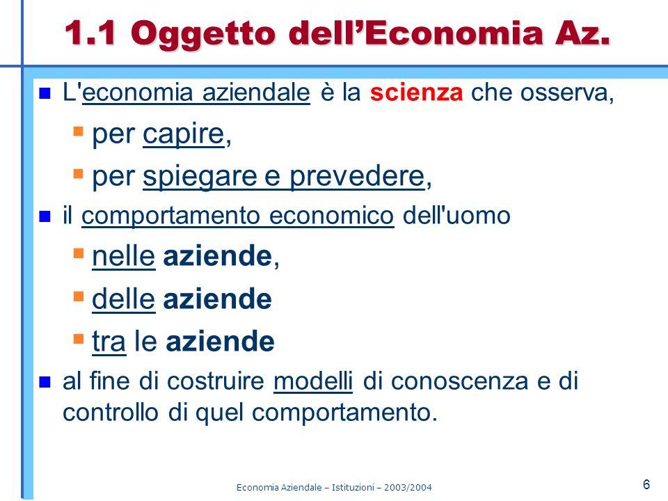 1.1 Oggetto dell'Economia Az.