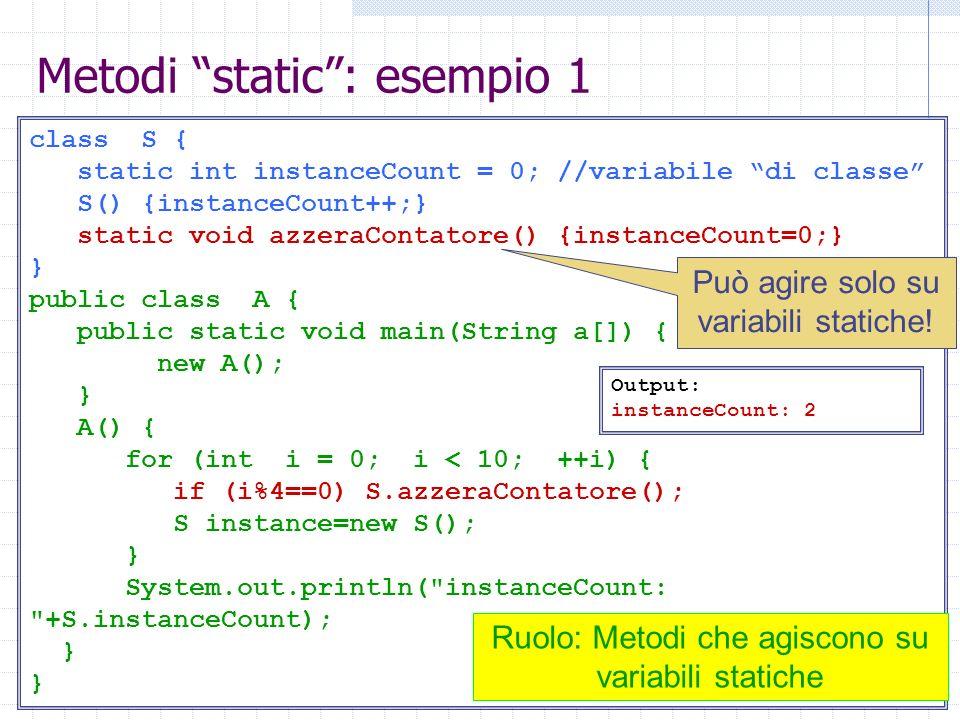 Metodi static : esempio 1