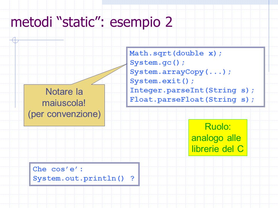 metodi static : esempio 2