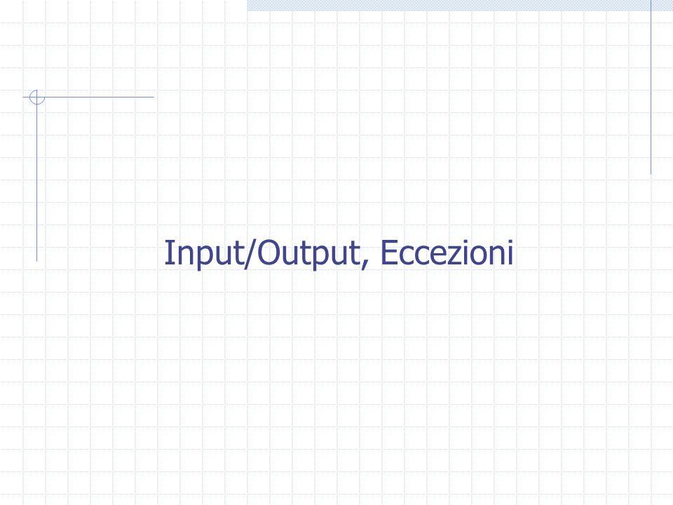 Input/Output, Eccezioni
