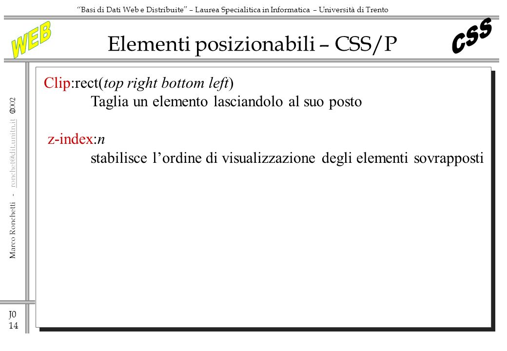 Elementi posizionabili – CSS/P
