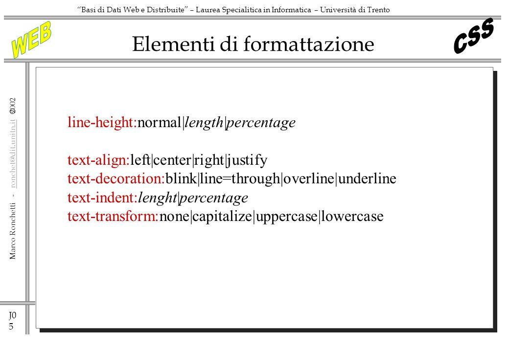 Elementi di formattazione