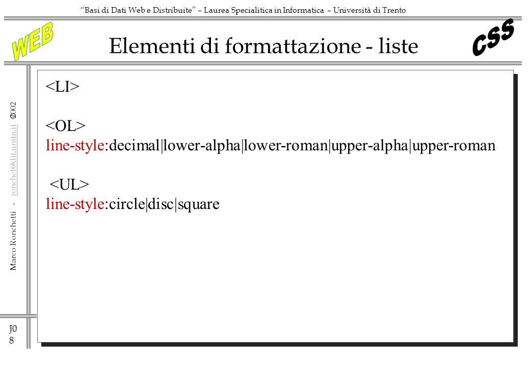 Elementi di formattazione - liste