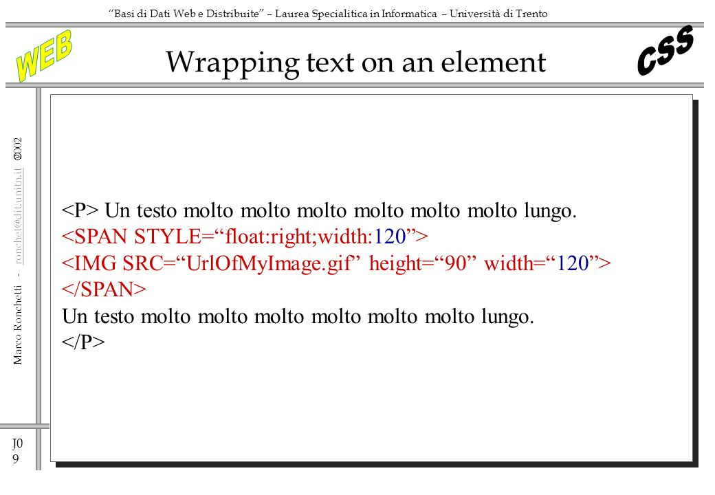 Wrapping text on an element