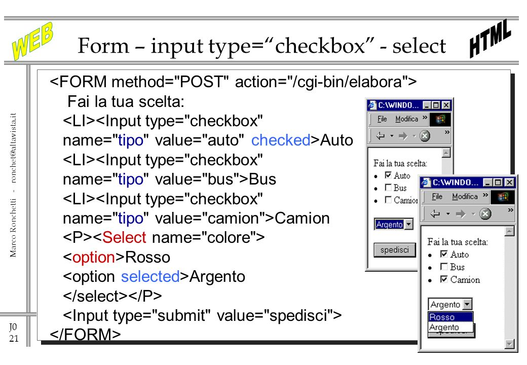 Form – input type= checkbox - select