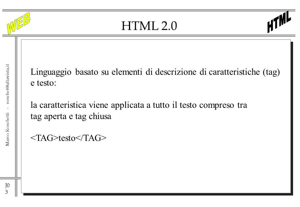 HTML 2.0 Linguaggio basato su elementi di descrizione di caratteristiche (tag) e testo: