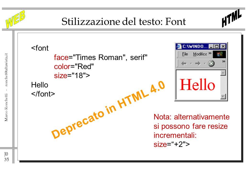 Stilizzazione del testo: Font