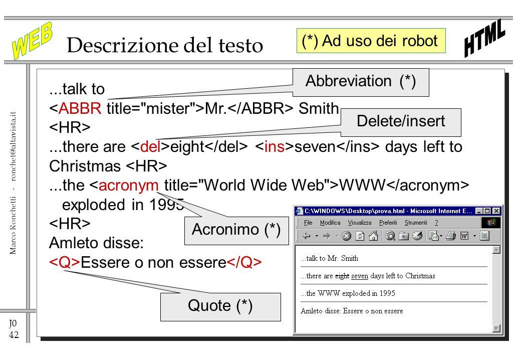 Descrizione del testo (*) Ad uso dei robot Abbreviation (*) ...talk to