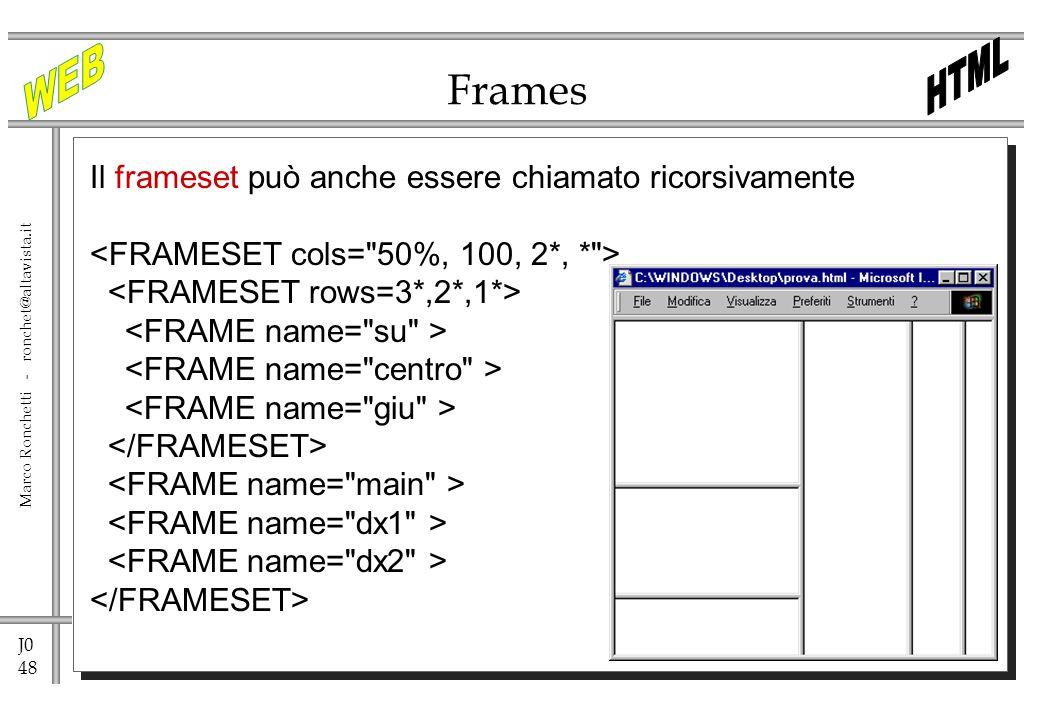 Frames Il frameset può anche essere chiamato ricorsivamente