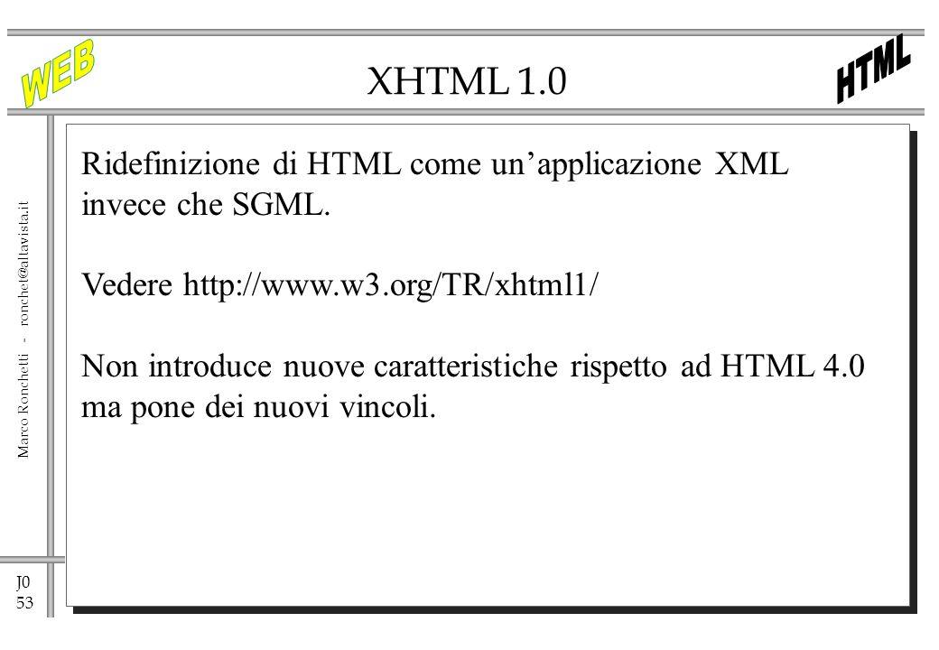XHTML 1.0 Ridefinizione di HTML come un'applicazione XML invece che SGML. Vedere http://www.w3.org/TR/xhtml1/