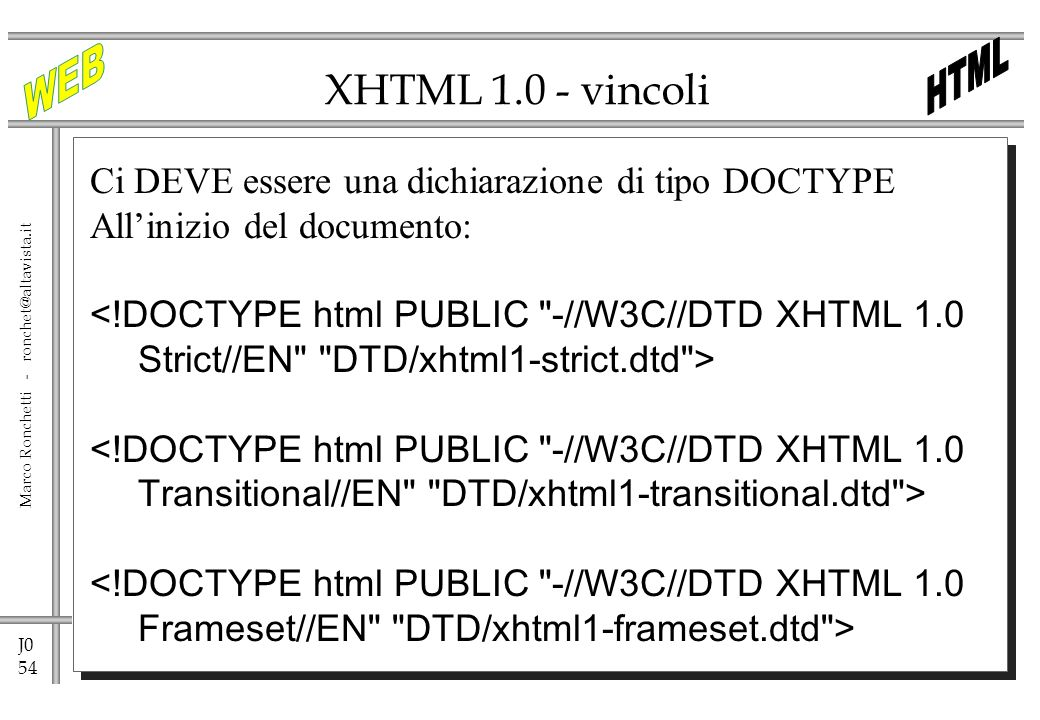 XHTML 1.0 - vincoli Ci DEVE essere una dichiarazione di tipo DOCTYPE