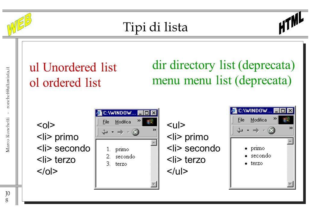 dir directory list (deprecata) menu menu list (deprecata)
