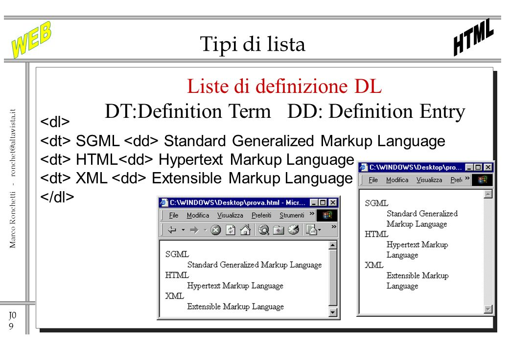 Liste di definizione DL DT:Definition Term DD: Definition Entry