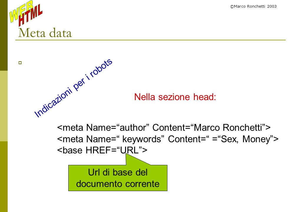 Url di base del documento corrente