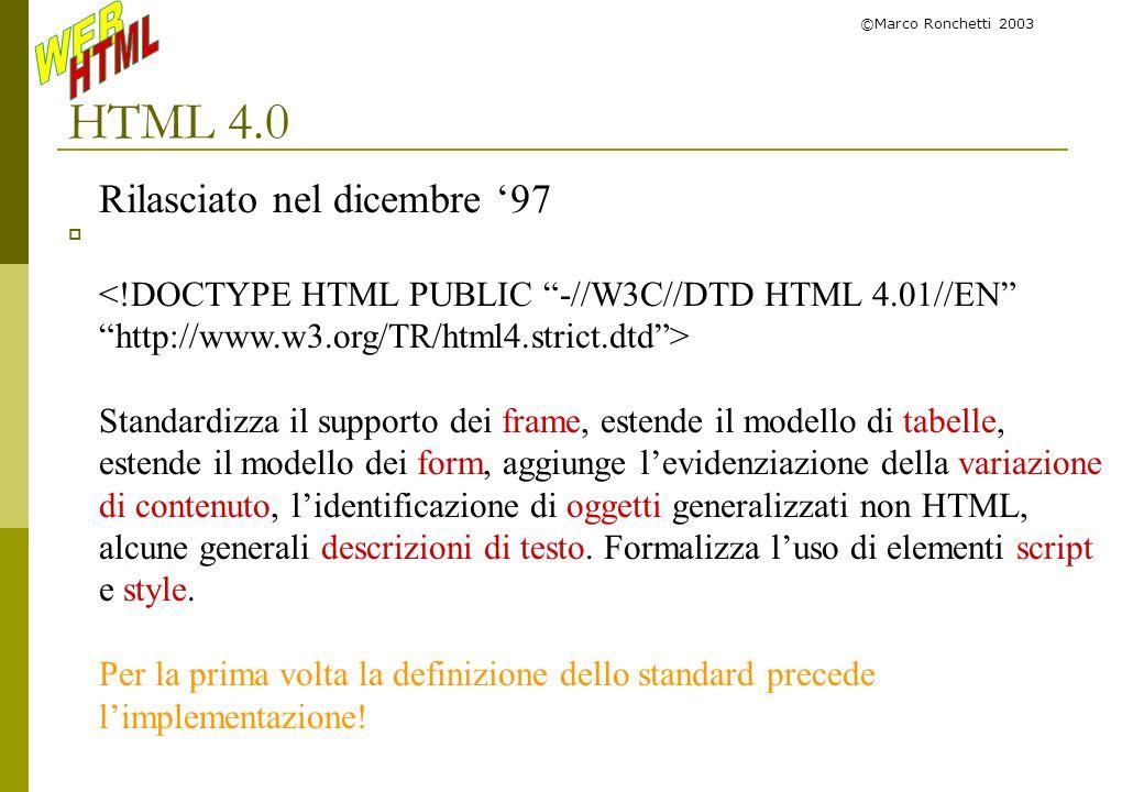 HTML 4.0 Rilasciato nel dicembre '97