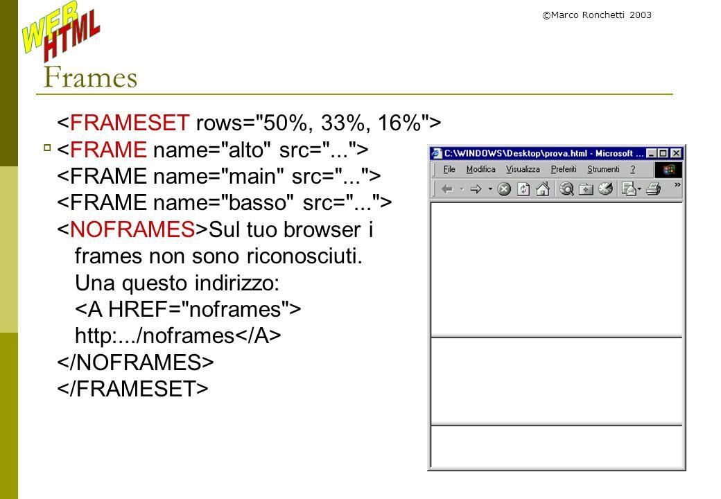 Frames <FRAMESET rows= 50%, 33%, 16% >