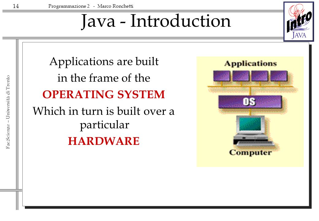 Java - Introduction Applications are built in the frame of the