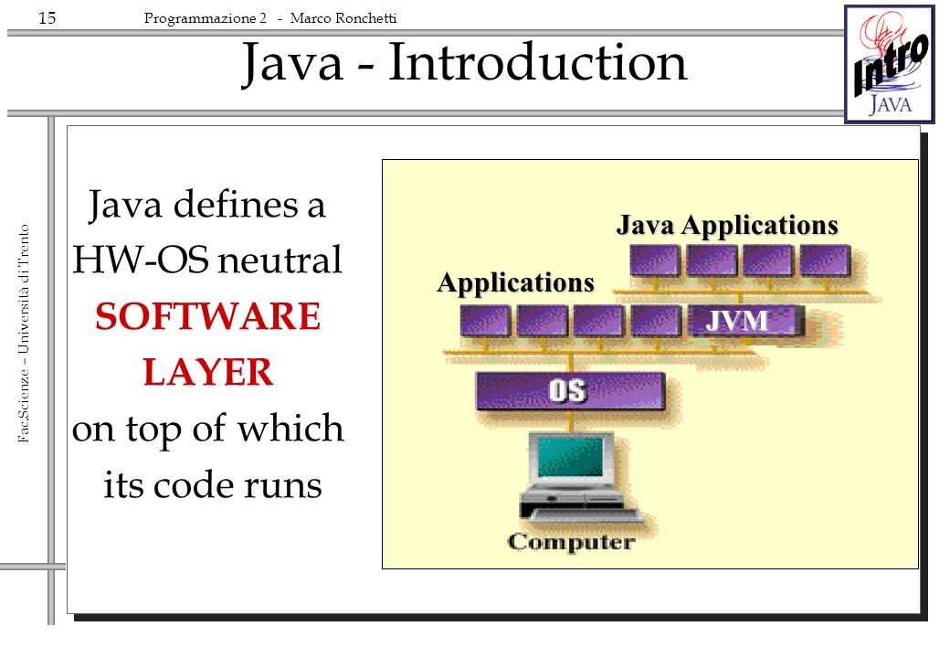 Java - Introduction Java defines a HW-OS neutral SOFTWARE LAYER