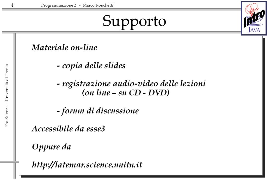 Supporto Materiale on-line - copia delle slides