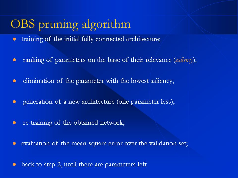 OBS pruning algorithmtraining of the initial fully connected architecture; ranking of parameters on the base of their relevance (saliency);