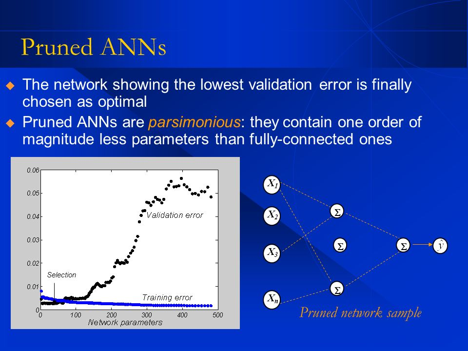 Pruned ANNsThe network showing the lowest validation error is finally chosen as optimal.