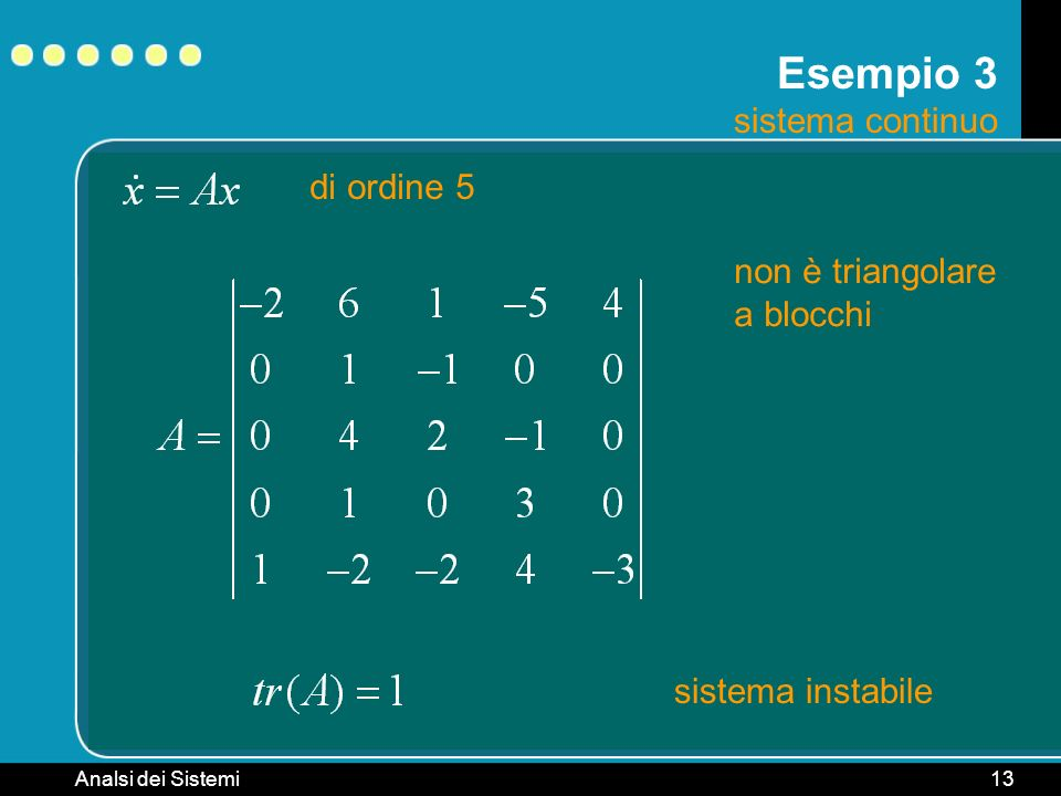 Esempio 3 sistema continuo