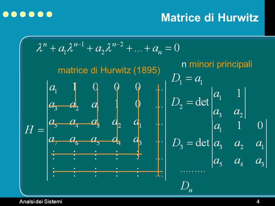 Matrice di Hurwitz n minori principali matrice di Hurwitz (1895)