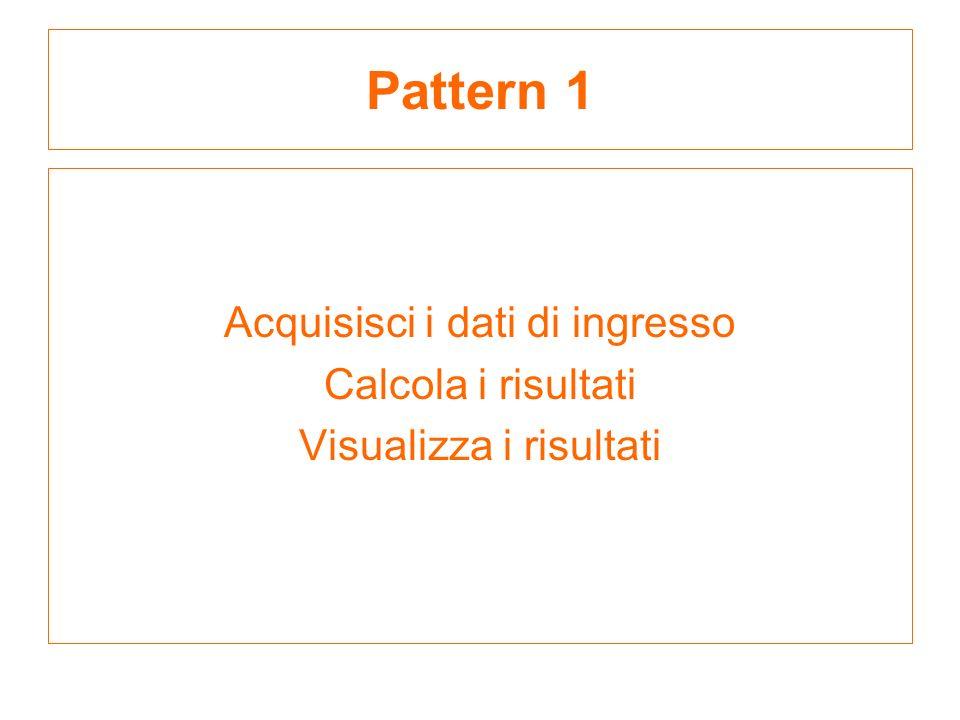 Pattern 1 Acquisisci i dati di ingresso Calcola i risultati