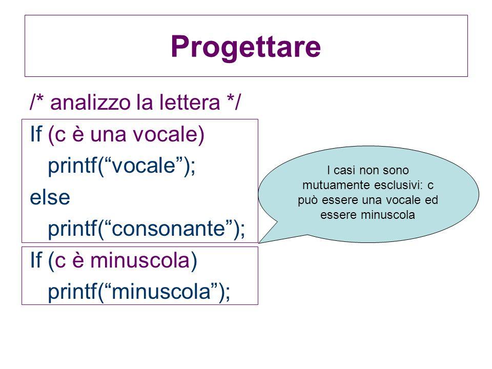 Progettare /* analizzo la lettera */ If (c è una vocale)