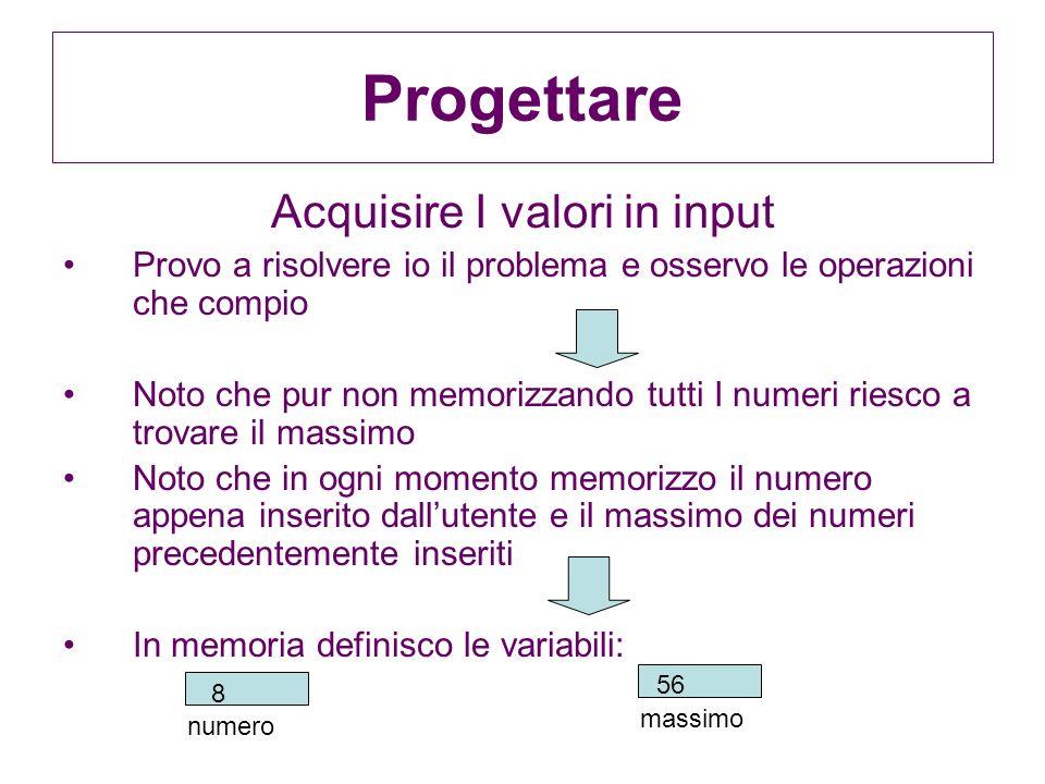 Acquisire I valori in input