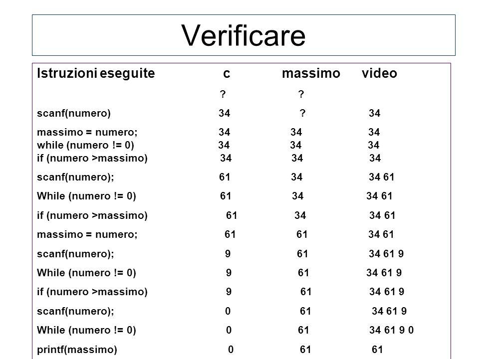 Verificare Istruzioni eseguite c massimo video