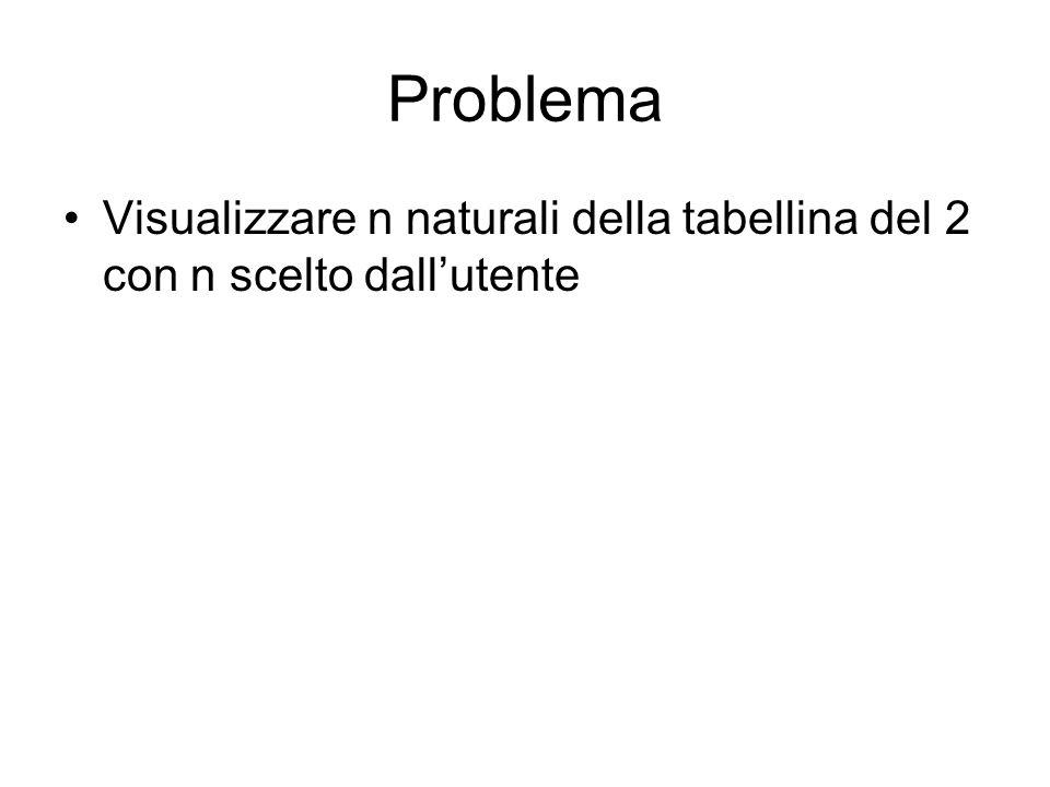 Problema Visualizzare n naturali della tabellina del 2 con n scelto dall'utente