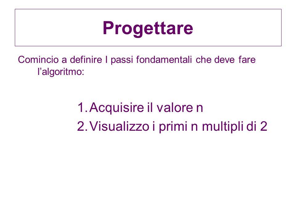 Progettare Acquisire il valore n Visualizzo i primi n multipli di 2