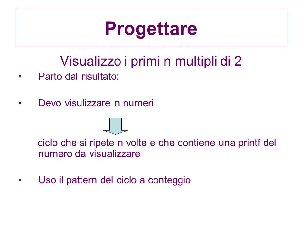 Visualizzo i primi n multipli di 2