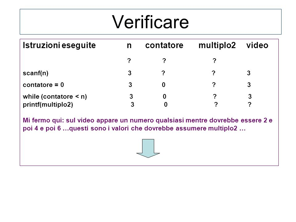 Verificare Istruzioni eseguite n contatore multiplo2 video