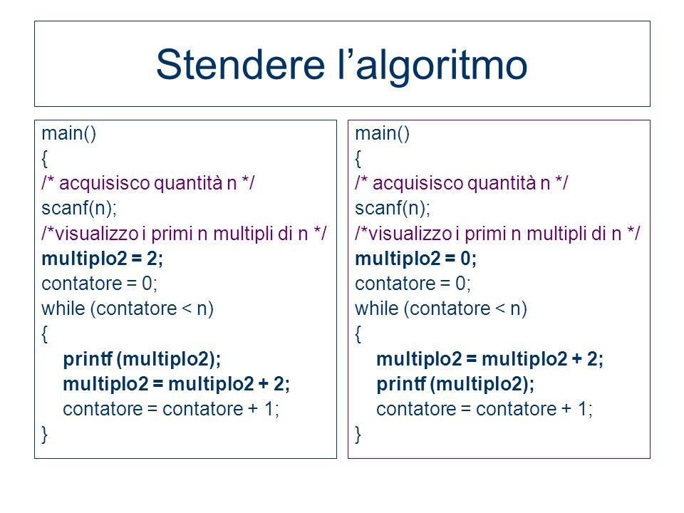 Stendere l'algoritmo main() { /* acquisisco quantità n */ scanf(n);