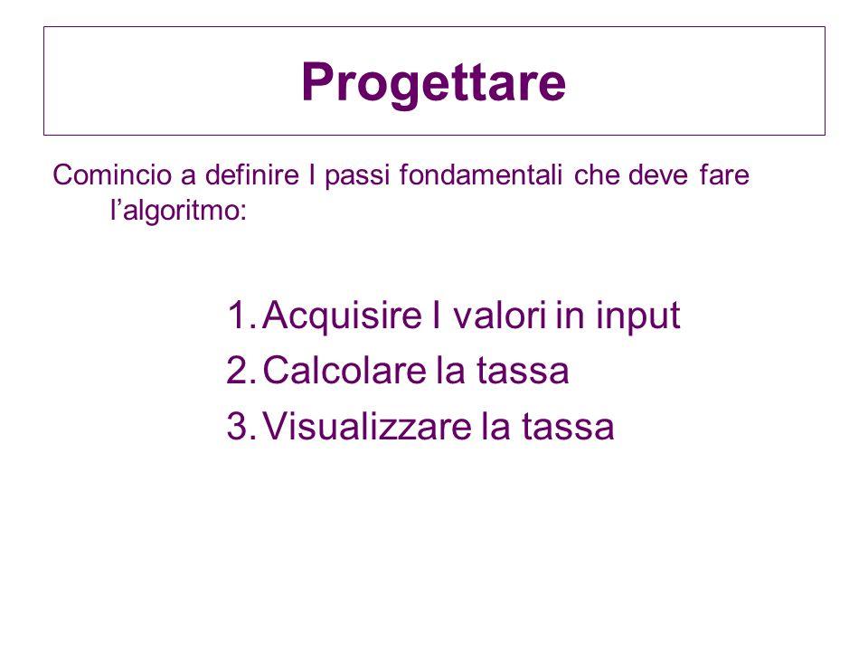 Progettare Acquisire I valori in input Calcolare la tassa