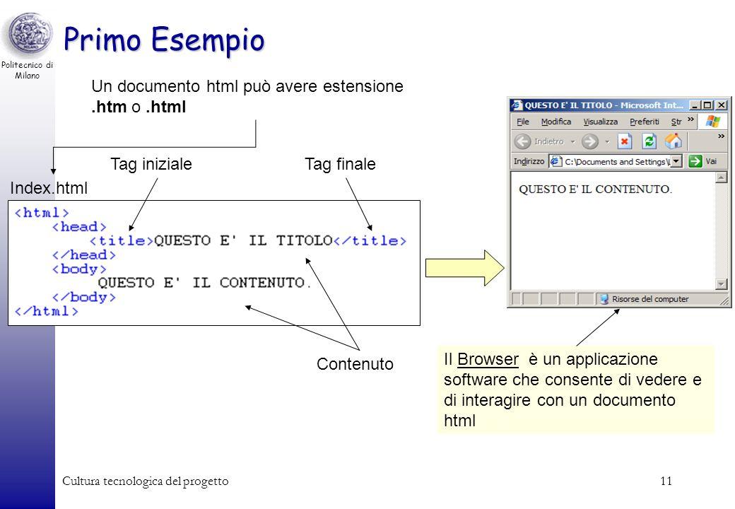 Primo Esempio Un documento html può avere estensione .htm o .html