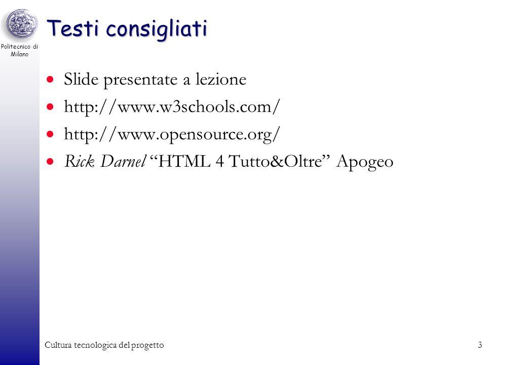 Testi consigliati Slide presentate a lezione http://www.w3schools.com/