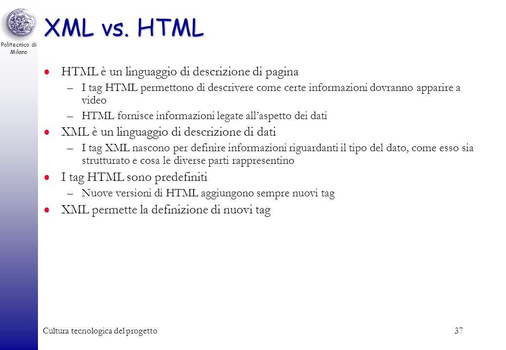 XML vs. HTML HTML è un linguaggio di descrizione di pagina