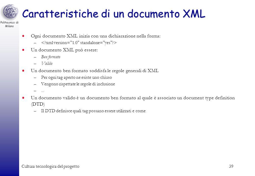 Caratteristiche di un documento XML