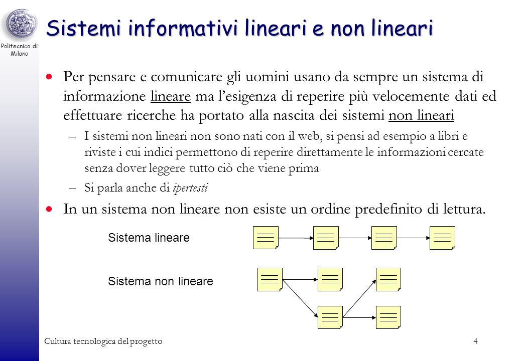 Sistemi informativi lineari e non lineari