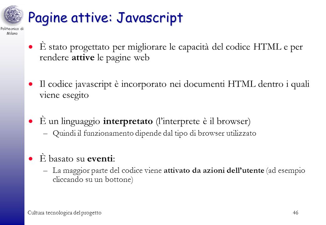 Pagine attive: Javascript