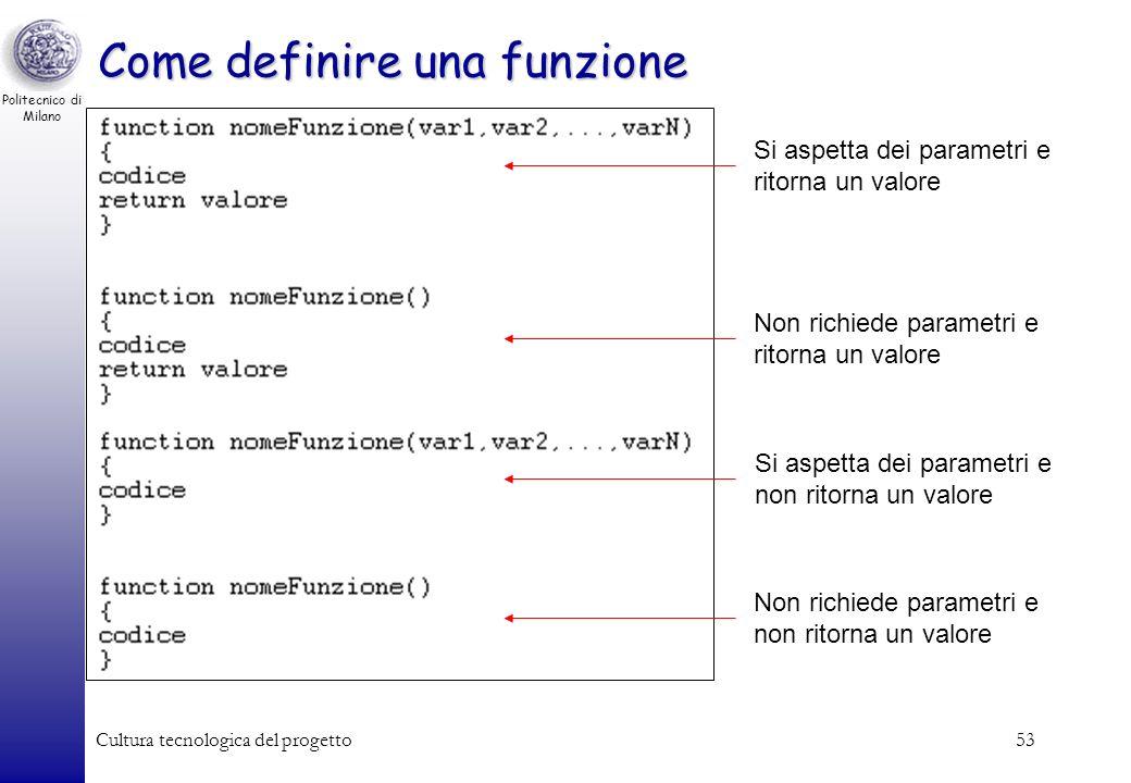 Come definire una funzione