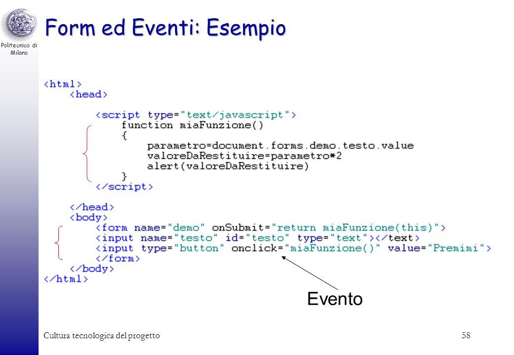 Form ed Eventi: Esempio