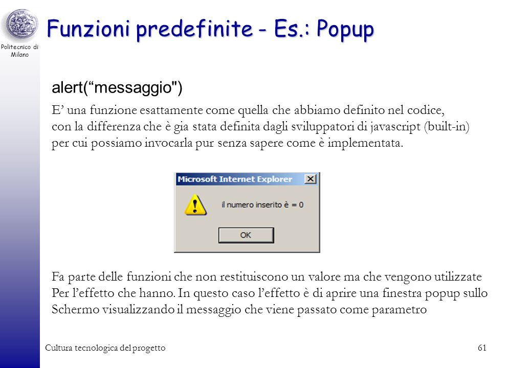 Funzioni predefinite - Es.: Popup